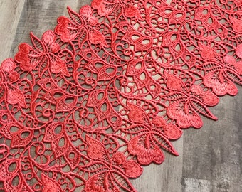 """CORAL, 8.5"""" Wide Venice Lace, Crochet Lace, Boho Trim, BTY By The Yard"""