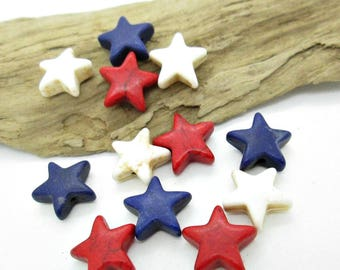 Star Stone Bead, Patriotic Stars, 4th of July Star Beads, Red White Blue Star Beads, Assorted Star Beads 10mm (12)