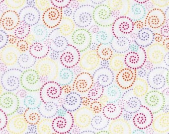 45'' Timeless Treasures White Dot Spiral Flannel by the Yard  CF5509-WHT