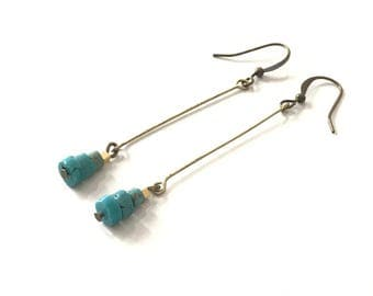Earrings dangle, turquoise, antique bronze