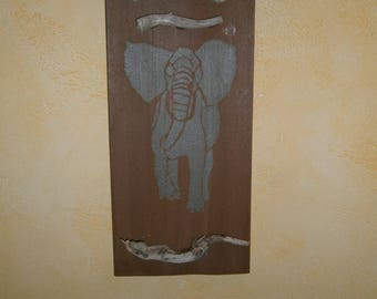 Elephant painting and Driftwood
