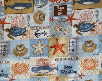 By the Sea Patch Cotton Fabric sold by the yard