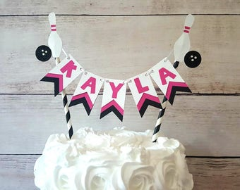 Bowling Cake Topper, Girl Bowling Birthday, Bowling Party Decorations, Pink Bowling Party, Bowling Cake Bunting, Bowling Birthday Decoration