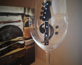 Bass Guitar/Clef Wine Glass