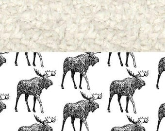 Baby Blanket Moose, Black and White, Faux Fur Blanket, Organic Blanket, Toddler Blanket, Woodland Blanket, Holiday Blanket,Christmas Blanket