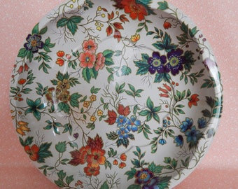 Vintage Daher Decorated Ware Round Shallow Tin Bowl
