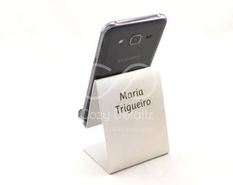 personalized iPhone stand,  smartphone stand, cell phone holder, personalized gift, tech gift, aluminium stand, engraved stand
