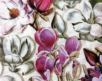TWO (2) Magnolia Flowers Paper Cocktail Napkins for Decoupage and Paper Crafts