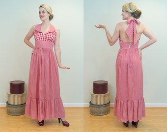1970s Vintage Dress - Summer Picnic Fun in This Gingham Halter Maxi With Flounced Hem