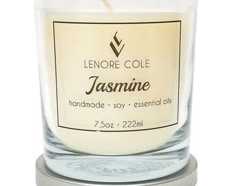 Jasmine Luxury Scented Candle, 7.5oz, Jasmine Soy Candle