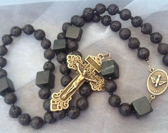 Men's Rosary Lava Rock Rosary Holy Spirit Rosary Pardon Crucifix Our Lady of Fatima Confirmation Rosary