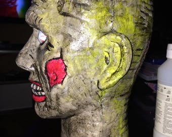 Hand painted Zombie Halloween Head