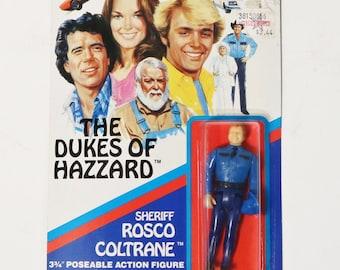 "Dukes of Hazzard Sheriff Rosco Coltrane 3 3/4"" action figure on card-Mego 1981 NIP"
