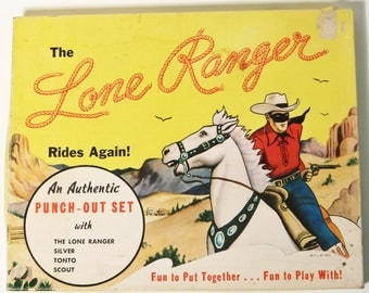 "Rare Vintage  1940's ""The Lone Ranger Punch-Out-Set with Original Box"