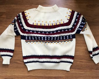 Vintage SKI Sweater RETRO Colorful Snowflake Mens  Large Acrylic Fair Isle Pullover Sweater