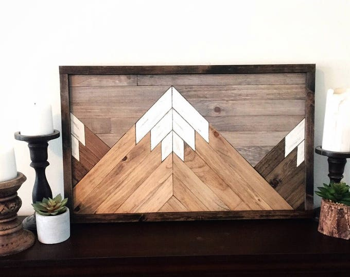 Featured listing image: Reclaimed wood wall art, wood art, farmhouse decor, mountain range wall art, rustic wall decor, mountain decor, rustic wall art