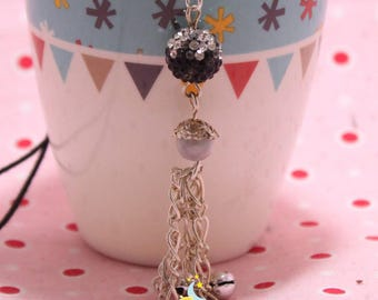 Pregnancy's Bola Jingle Bell beads 12mm silver black swarovski rhinestones