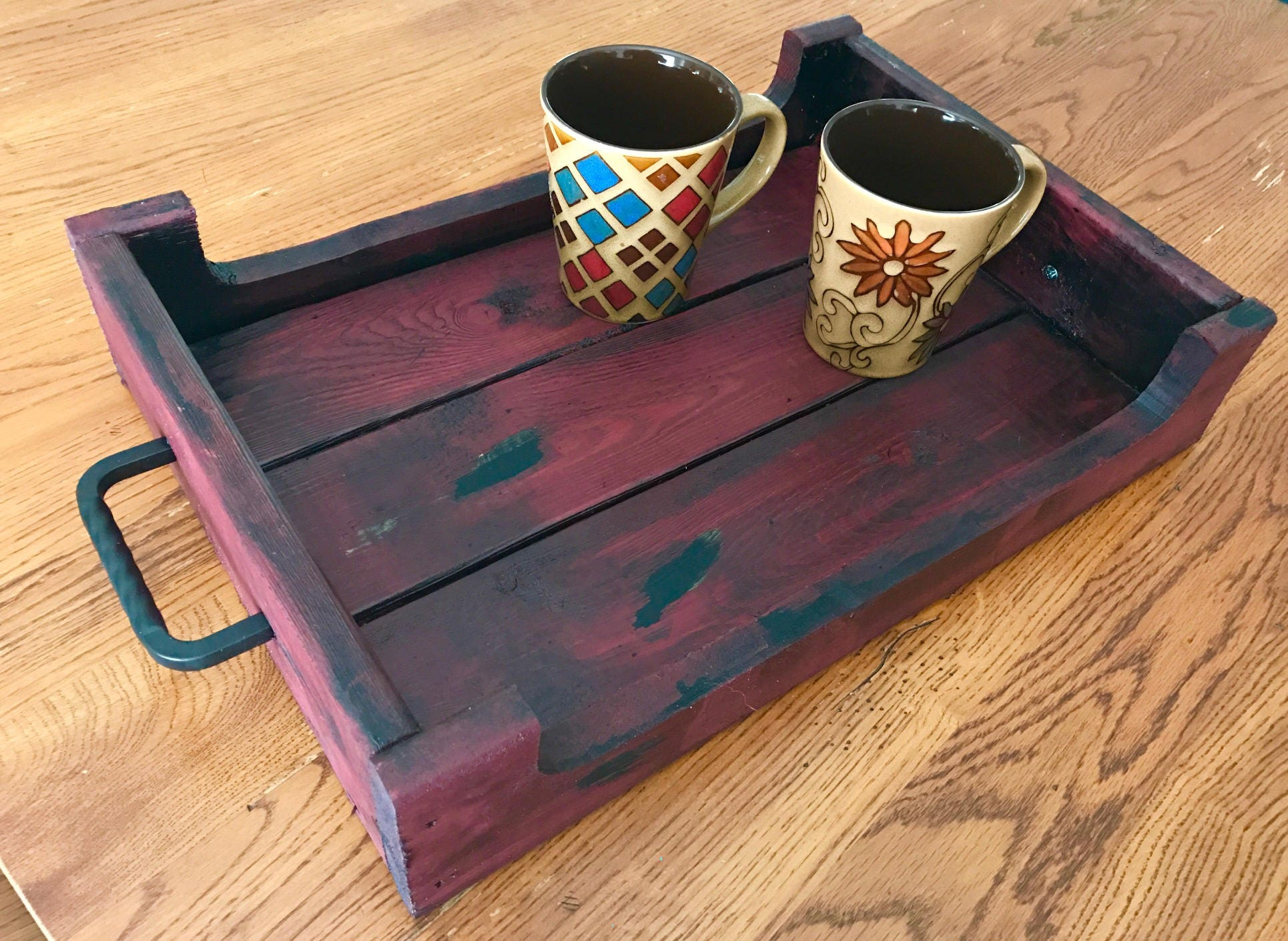Decorative Wooden Serving Tray Red Distressed Wooden Tray