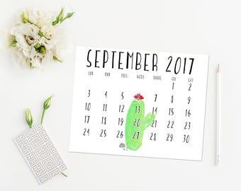 2017-2018 Wall Calendar, Monthly Calendar, Cactus Calendar, Southwest Theme, Desk Calendar, Printable Calendar, Home Decor, Download