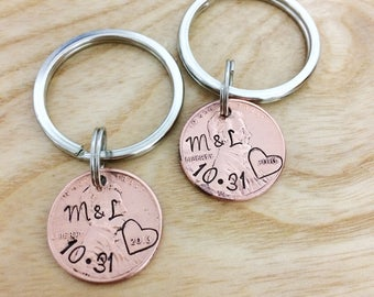 boyfriend gift - anniversary gift - long distance relationship - girlfriend gift - hand stamped jewelry - penny keychain - set of 2 gifts