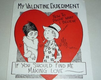 ON SALE till 7/28 Unique - My Valentine Experiment Vintage Greeting Card
