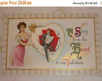 ON SALE till 7/28 A Song From the Heart Woman and Man Antique Wessler Valentine Postcard