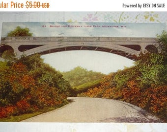 60% off till 8/15 Bridge and Driveway, Lake Park, Milwaukee, Wisconsin Antique View Postcard