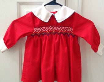 Polly Flinders Lord and Taylor Hand Smocked Red Dress