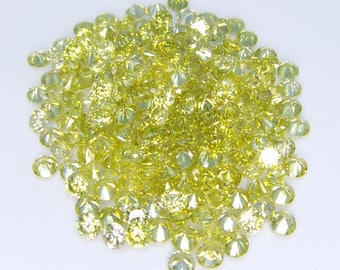 500pcs.Wholesale Peridot Cubic zirconia CZ Round cut 1.90mm. loose gemstones.