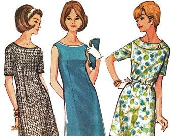 60s Day Dress Pattern Oval Neck A Line Shift Dress Pattern 1960s Sewing Pattern McCalls 7647 Half Size 14.5 Bust 35