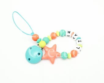 """Custom 100% silicone beads pacifier clip - model """"Liam"""""""