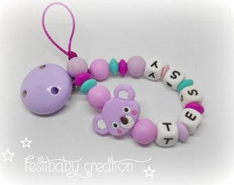 Attache tétine personnalisée tout en silicone ~ modèle koala, cadeau de naissance, perles koala silicone