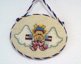 Patriotic Angel Bear with Flags ornament