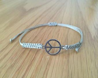 Peace  Bracelet, Peace charm, Unisex Bracelet, Adjustable, Peace Jewelry