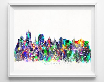 Quebec Skyline, Print, Canada Cityscape, City Skyline, Watercolor Art, City Poster, Wall Art, Wall Decor, Home Decor, Mothers Day Gift