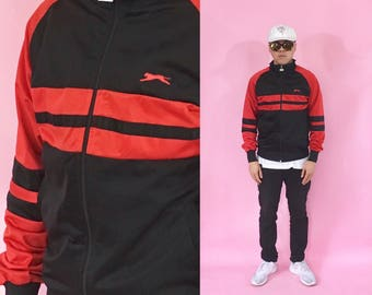 Vintage windbreaker track jacket slazenger red black 1990s 1980s 90s 80s red