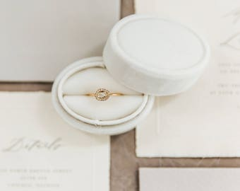 Ring Box Vintage Style Oval Box in Wedding Cake White Velvet For Weddings, Engagements, Popping The Question, Heirloom Storage, Gift Giving