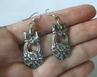 Antique Sterling Silver Spoon Earrings, Dangle Earrings made from Antique Sterling Spoons, Flower Pattern, Spoon Jewelry