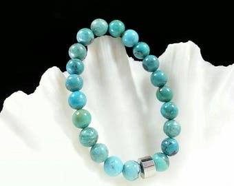 Hubei Turquoise Bracelet -Genuine Turquoise, Un-dyed Turquoise, 8mm, Turquoise for Her, Girlfriends Bracelet, Christmas Gift
