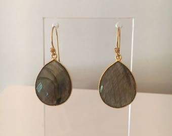 Large Labradorite and Gold Earrings