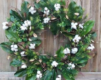 Farmhouse Wreath~Magnolia Leaves Wreath~Cotton Boll Wreath~Grapevine Wreath~Farmhouse Grapevine Wreath~Spring Wreath