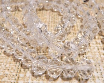 70Pcs 10mm Clear White Round Crystal Glass Abacus Beads for Beading Supplies Earrings Necklace Bracelet