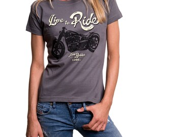 Womens Vintage Biker T-Shirt - Live to Ride - Rockabilly Summer Top with Motorbike Print S/M/L