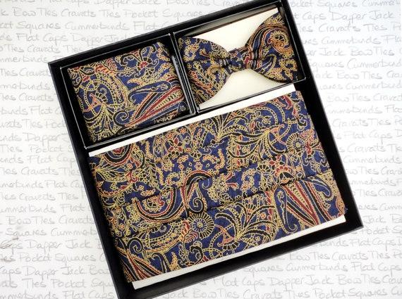 Blue paisley cummerbund, bow tie and pocket square set