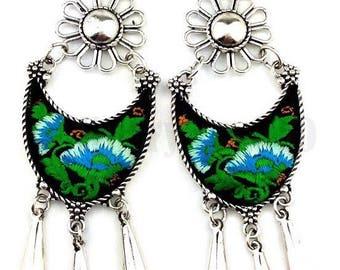 Handmade dangle chandelier earrings, tassel boho embroidered metal earrings, water drop earrings, tribal metal earrings, black, blue, green