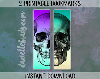 2 Printable Skull Bookmarks