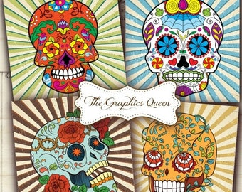 80 % off Summer Sale Sugar Skull Large Images for Printable Coasters, Digital Greeting Cards Tags, 3.8 x 3.8 inches Square Digital Backgroun