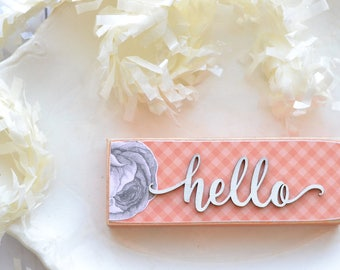 Coral Peach Gingham Hello Sign. Wood Hello Sign. Gingham. Coral Wood Sign. Script Font Hello. Cursive Hello. Floral Gingham Cursive Hello.