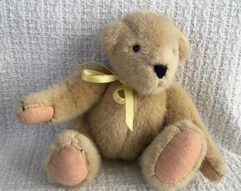 "North American Bear Co, Muffy Vanderbear, Beige Jointed Bear, 8"" Tall Jointed Bear, Buff Bear, Plush Bear, 1982, Jointed Teddy Bear, Teddy"