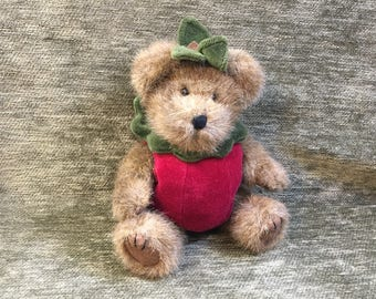 """Boyds Bear, Smith Applewish Bear, Bear in Red Apple Suit with Green Hat and Collar, 9"""" tall, Bear in Apple Suit"""